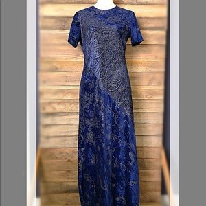 Liz Claiborne vintage Asian inspired velvety dress
